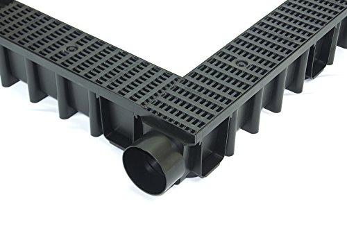 Entwässerungsrinne 148mm Einlaufkasten Stegrost Kunststoff inkl. Zubehör (2 Stirnwände)