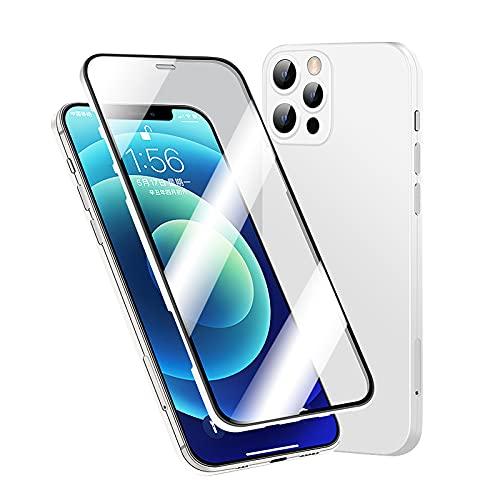 Qoosea Funda Compatible con iPhone 12 Pro MAX Cover 360 ° Protección de Cuerpo Completo Protector de Pantalla de Vidrio Templado 9H Incorporado Estuche Carcasa para iPhone 12 Pro MAX (Blanco)