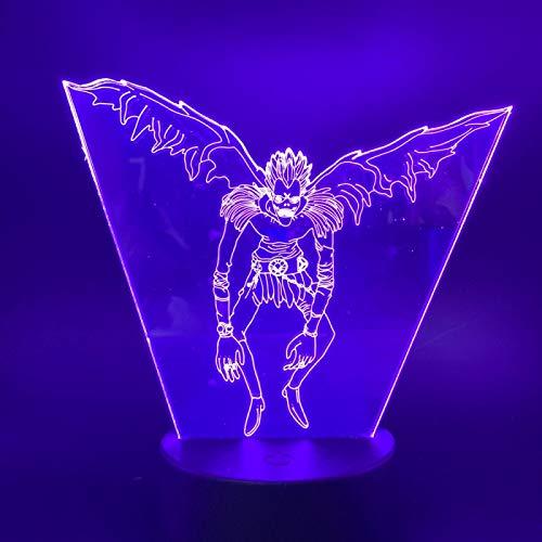 KAXIN Anime Death Note - Lámpara de noche con personaje 3D, cambia de color, luz decorativa LED para el hogar o el dormitorio, regulable, lámpara decorativa con mando a distancia, 7 colores táctiles