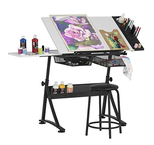 Studio Designs Modern Fusion Craft Center with 24' Tray and Stool, Charcoal/White