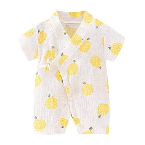 Chickwin Mameluco Bebé Monos Niños Pelele Niñas Body, Algodón Manga Corta Verano Recién Nacidos Ropa Chaqueta de Punto Kimono Pijama para Bebé-Niños Jumpsuit 0-24 Meses (Piña Amarilla,80cm)