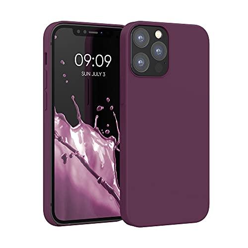 kwmobile Hülle kompatibel mit Apple iPhone 12/12 Pro - Hülle Silikon gummiert - Handyhülle - Handy Hülle in Bordeaux Violett
