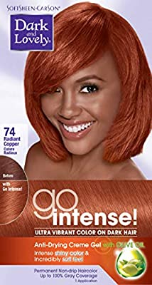 Softsheen-Carson Dark and Lovely Ultra Vibrant Permanent Hair Color Go Intense Hair Dye for Dark Hair with Olive Oil for Shine and Softness, Radiant Copper