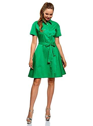 oodji Collection Mujer Vestido Camisa con Cinturón, Verde, ES 40 / M