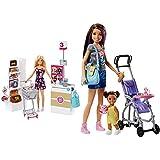 Barbie Muñeca Vamos Al Supermercado, Accesorios Muñeca, Regalo para Niñas Y Niños 3-9 Años (Mattel Frp01) , Color/Modelo Surtido + Muñeca Skipper Hermana De , Niñera De Paseo (Mattel Fjb00)