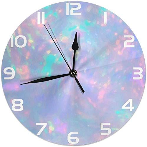 shotngwu Reloj de Pared Redondo de impresión de Piedras Preciosas de ópalo Silencioso sin tictac Funciona con Pilas Fácil de Leer para la Oficina del Estudiante Escuela Hogar Reloj Decorativo Arte