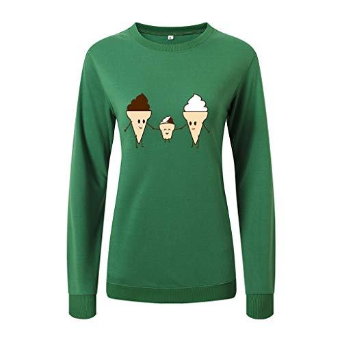 LQQSTORE Damen Langarm EIS Druck Cartoon Lose Langarm Pullover Sweatshirt Unisex Oversize Basic Trendy (Grün, L2)