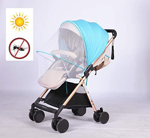 Kinderwagen Sonnenschutz Universal - faltbar Moskitonetz Baby Sonnenverdeck für Buggy & Sportwagen | XL Pop-Up Sonnendach mit UV Schutz 40+ (Blau + Schatten Tuch)