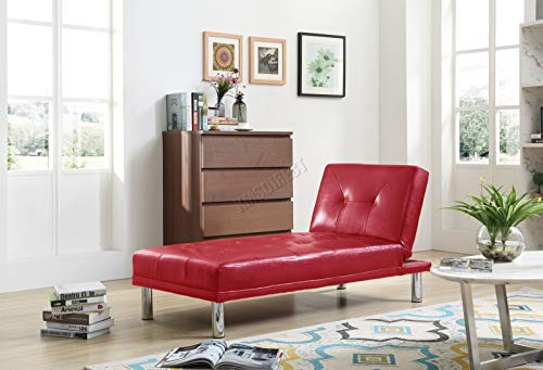 WestWood Modern Luxury Chaise Longue Single Sofa Bed 1 Seater Couch Small Guest Sleeper Convertible Chair Faux Leather Living Room Furniture PSB03 Red