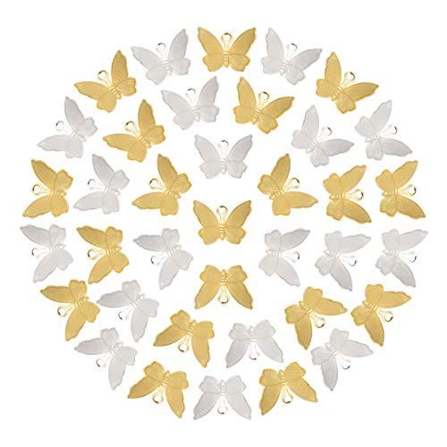 NBEADS 160 Piezas 2 Colores Charms de la Mariposa, Colgantes de Animales de Filigrana de Latón para...