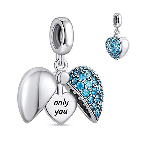 NINGAN Abalorio de plata de ley 925, compatible con pulseras y collares de Pandora, Biagi, Chamilia y europeas de Ningan (azul)