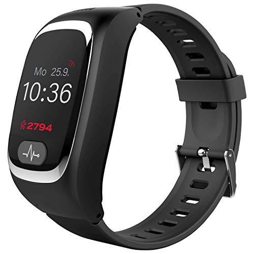 Tracmi B6 - Reloj GPS Negro para Personas Mayores dependientes o con Alzheimer, Demencia, Que Puedan requerir de rápidas intervenciones en situaciones de Emergencia.
