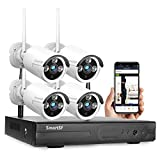 SmartSF 1080P 8CH NVR HD Wireless Security Camera System WiFi Kit CCTV Surveillance Systems,(4)1.0MP Outdoor/Indoor Weatherproof Bullet IP Cameras,65ft Night Vision, P2P,Motion Detection,No Hard drive