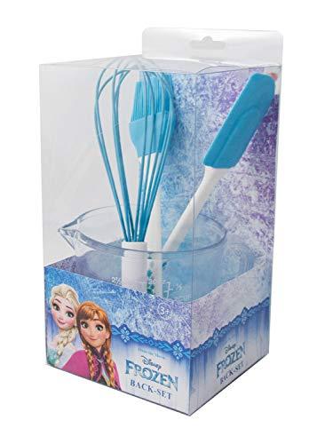 POS 28284 - Backset im Disney Frozen Design, 4 teilig, mit Messbecher, Schneebesen, Teigschaber und Pinsel, bpa- und phthalatfrei, spülmaschinengeeignet, zum Backen und Kochen für Kinder