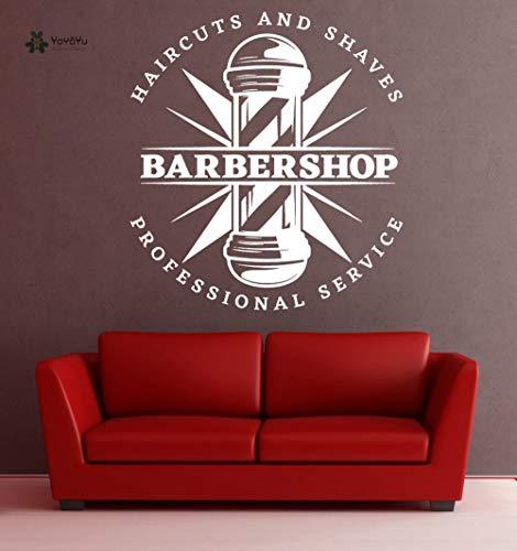 Ajcwhml Decalcomania da Muro Vinyl Art Decorazione da Parete Haircut Shaves Servizio Professionale Barbershop Retro Poster 42X42cm