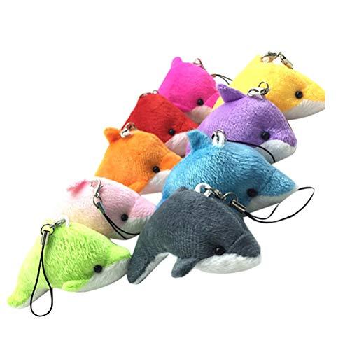 Toyvian 5 stücke Plüsch Kleine Delphin Anhänger Plüsch Kleine Delphin Decor Anhänger für Schlüsseltasche Telefon (Zufällige Farbe)