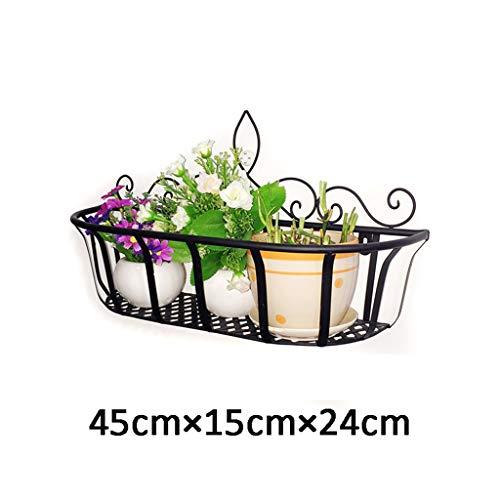 Jsmily Schmiedeeisen Blumenständer Balkon Blumenständer Wandbehang Blumenständer Wand Topf Rack Wandregal Dekoration Rahmen Blumenstand (Color : Black, Size : 45cm×15cm×24cm)