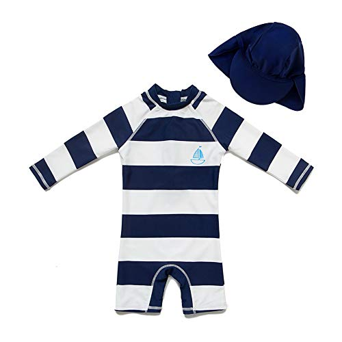 upandfast Kids One Piece Zip Sunsuit with Sun Hat UPF 50+ Sun Protection Baby Beach Swimsuit (Stripe(LS), 12-18 Months)
