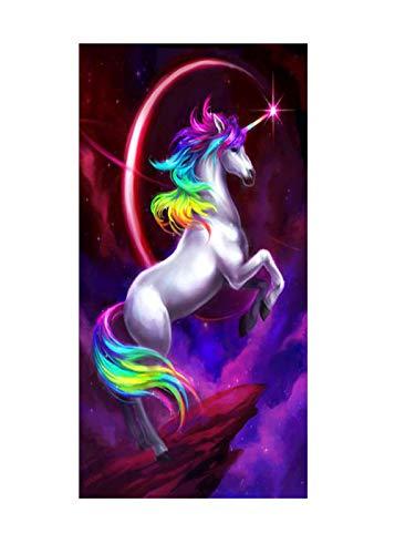 3D Arco Iris Unicornio Caballo Toalla de Playa Microfibra Extra Grande Gigante de Secado Rápido para Viajar Gran Tamaño Niña Niños Toallas de Baño xxl manta Divertidas (púrpura,70 x 150 cm)