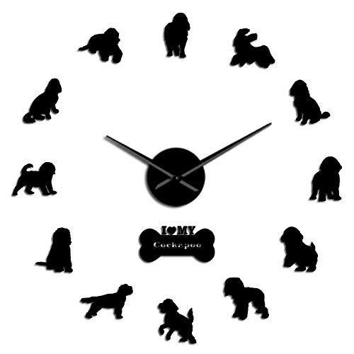 Wrist Watch Wall Clock DIY Large Wall Clock Cocker Spaniel Dog Breed Frameless DIY Giant Wall Clock Silent Movement Watch Spoodle Lovers Gift,Gold,37