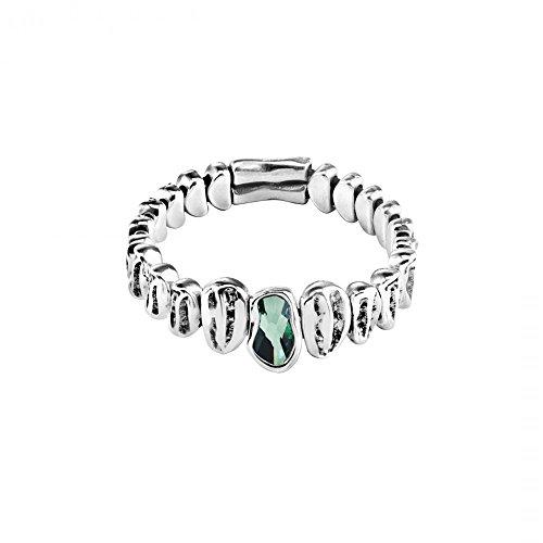 PUL1581VRDMTL0M - Pulsera UNO de 50 'Reptile' para mujer con cuentas con baño de plata y un cristal central de SWAROVSKI ELEMENTS en color verde.