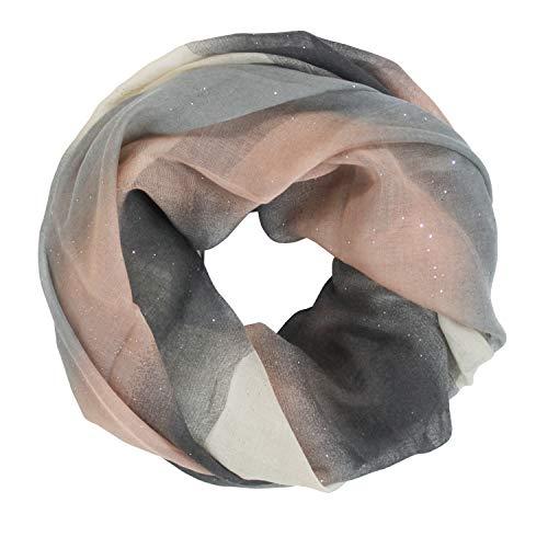 Glamexx24 Sciarpa da donna Tubolare foulard lungo circolare per tutte le stagioni con diversi colori e motivi (Albicocca Grigio)