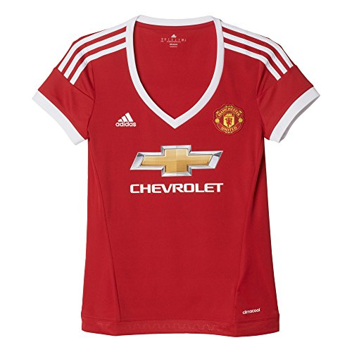 adidas Damen Kurzarm Heimtrikot Manchester United Replica, Real Red/White/Black, S