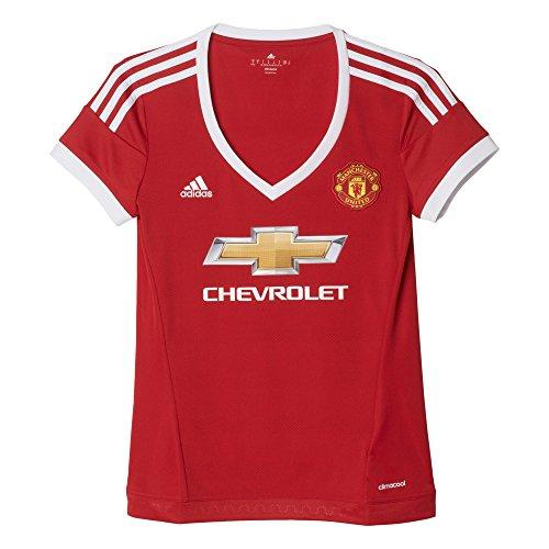 adidas Maglietta a Maniche Corte Maglia Donna del Manchester United Replica, Donna, Kurzarm Heimtrikot Manchester United Replica, Real Red/White/Black, L
