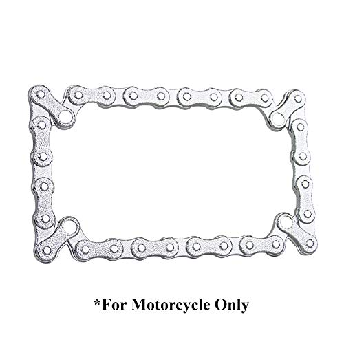 TC Sportline LPF245-C 3D Bike Chain Style Zinc Metal Chrome Finished Motorcycle License Plate Frame