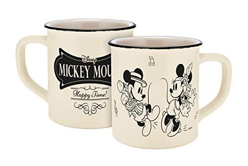 Disney Mickey Mouse 13754Disney Mickey & Minnie Vintage Happy Time esmalte aspecto de taza, taza de porcelana, taza de café, cerámica, beige