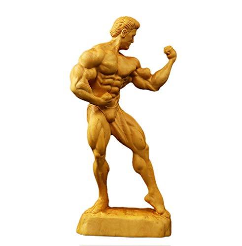 Vervollkommnen Sie eine Bodybuilder-Skulptur Muskel-Mann-Charakter Buchsbaum-Kunsthandwerk-Verzierungen Amerikanisches Retro-Dekorations-Bücherregal Bücherregal Weinschrank-Möbel