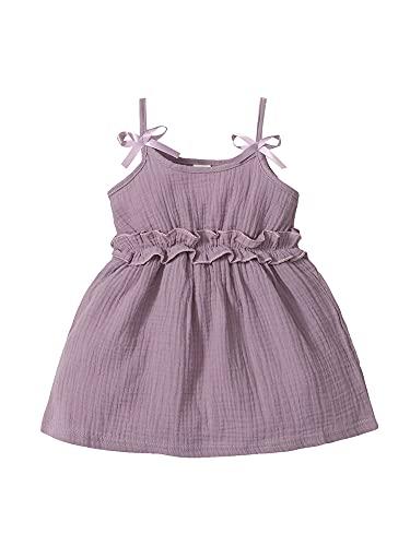 Yumeng Vestido de fiesta para niñas pequeñas con bowknot y pliegues para bebés y niñas, color sólido, falda de princesa