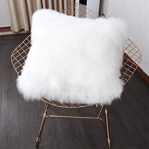 ZHOUZEKAI Funda de cojín de sofá, 45 x 45 cm Funda Almohada de Suave Piel sintética de Lana, Cuadrados y Suaves Cojines PeloPara la Decoración del Hogar Sofá Cama del Coche (Blanco)