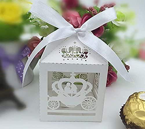 Krismile® 2015 50PCS White Laser Cut Cinderella Enchanted Carriage Marriage Box,pumpkin carriage Wedding Favor Boxes Gift box Candy box