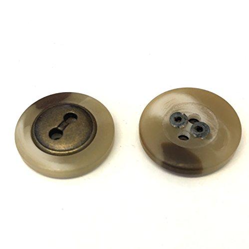 10 x 18mm crème en bruine hars knopen met centrale verouderde brons metalen inzetstuk
