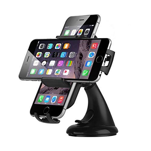 EC Technology Supporto Auto da Universale per Smartphone Supporto Cellulare Rotazione di 360 Gradi per iPhone 8 / iPhone 7/7 Plus/ 6S / 6/5 / 5S / 5C / Samsung/Hawei/Sony/Nexus/iPod/GPS etc- Nero