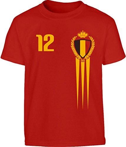 Belgien Kinder Fußball Fantrikot Fanshirt Kleinkind Kinder T-Shirt Jungen 94 Rot