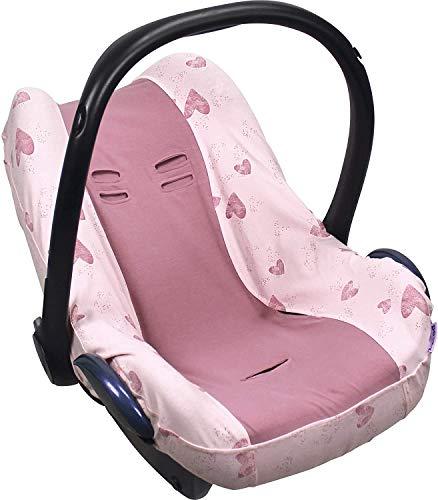 Dooky Seat Cover 0+ Pink Heart Housse de siège auto (pour système de ceinture 3 et 5 points, pour la tranche d'âge 0+, convient à la plupart des marques), Rose