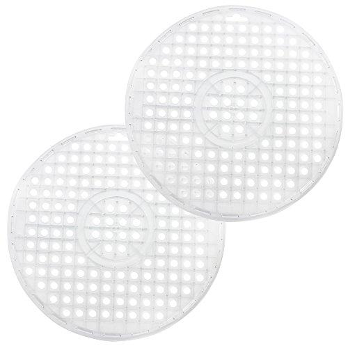 com-four® 2x Spülbeckeneinlage - Runde Spülbeckenmatte - Einlage für Spülbecken schützt die Oberfläche der Spüle und das Geschirr (2 Stück - transparent)