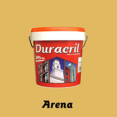 Pintura para fachadas exterior de alta gama y textura lisa en colores - Duracril Liso Duracolor (12 litros, Arena)