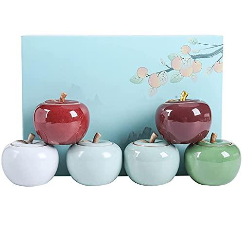 Zestawy kanistrów do blatu kuchennego-Apple Ceramiczny 6-częściowy zestaw kanistrów Zestaw kanistrów na herbatę 6 małych przenośnych sześciokolorowych słoików Pudełko