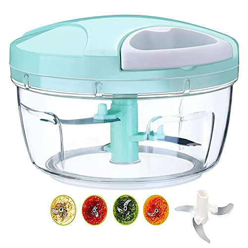 Gbrand Manual Mini Meat Chopper, 500 ml, 3 High Speed Stainless Steel Blades, Suitable for Onion, Garlic, Herbs, Carrot, Tomato, Parsley, Salads and Fruits