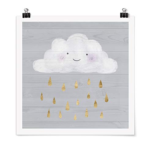 Bilderwelten Poster - Cloud with Golden Raindrops Carré Fini satiné Autocollant 70 x 70cm