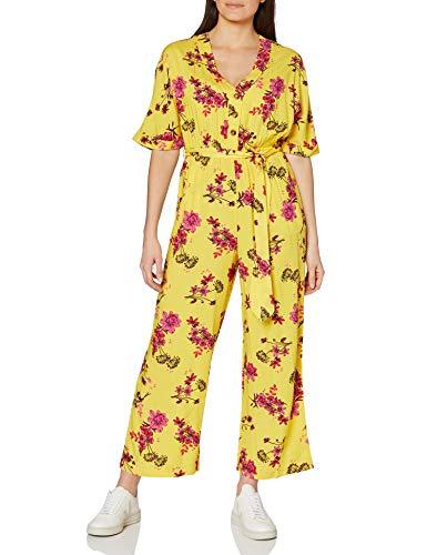 Marque Amazon - find. Combinaison d'Été Manches Courtes Femme, Jaune (Yellow), 38, Label: S