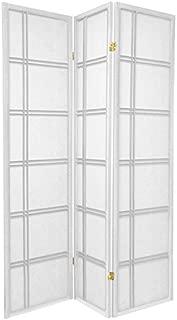 Oriental Furniture 6 ft. Tall Double Cross Shoji Screen - White - 3 Panels