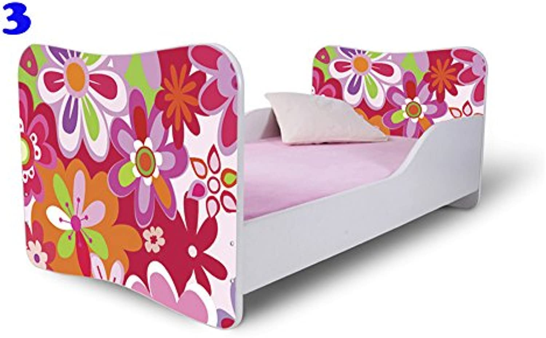 Nobiko Babybett Kinderbett Bett Schlafzimmer Kindermbel Spielbett Butterfly 160x80 or 140x70 Schublade Matratze Lattenrost (160x80, 3)