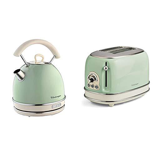 Ariete 2877 Vintage Wasserkocher, 2000 Watt, 1,7 Liter, beige/grün, Rostfreier Stahl, 1.7 liters & 155 Toaster mit 2 Schlitzen Vintage Vert