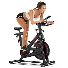 Vélo d'appartement Dripex Vélo vélo, 13 kg d'volant vélo vélo d'appartement avec réglage de résistance magnétique, affichage LCD, porte-bouteille et tablette, 10 compartiments hauteurs réglables, poids de l'utilisateur jusqu'à 120kg