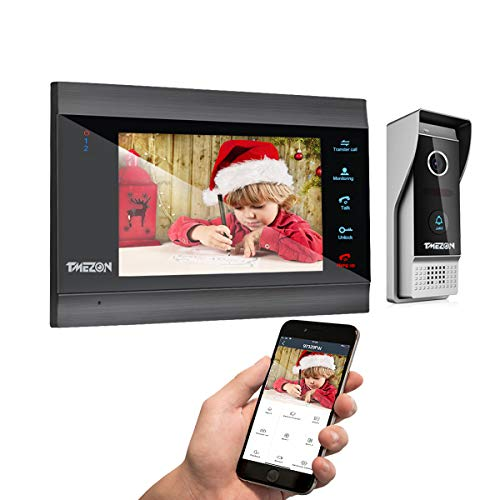 TMEZON Videoportero Wifi Sistema de intercomunicación,Monitor 1080P 7 zoll y timbre con cable para 1 familia, tecnología de 4 cables,Desbloqueo Remoto,visión Nocturna, instantánea/grabación,Tuya Smart