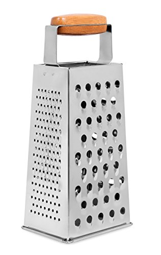 Internet's Best Stainless Steel and Bamboo Box Grater - 4 Sided Grater and Slicer - 9.5 Inch - Hand Shaver for Cheese Fruit Vegetable Root Nuts - Wood Handle